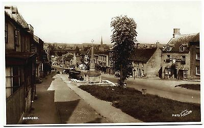 Early Real Photo Postcard . Main Street . Burford . Oxfordshire