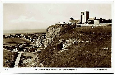 Early Real Photo Postcard . Old Church . Uphill . Weston Super Mare . Somerset