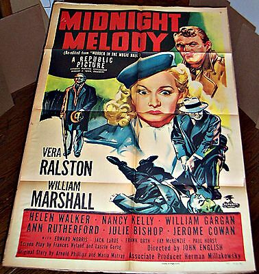 Midnight Melody * Vera Ralston * Colorful Murder Mystery Orig 27X41 1-Sheet