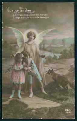 Guardian Angel protect child from woolf fox original old 1910s  photo postcard