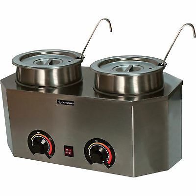 Pro-Deluxe Stainless Steel Dual Food / Soup Warmer with 2 One-Oz. Ladles