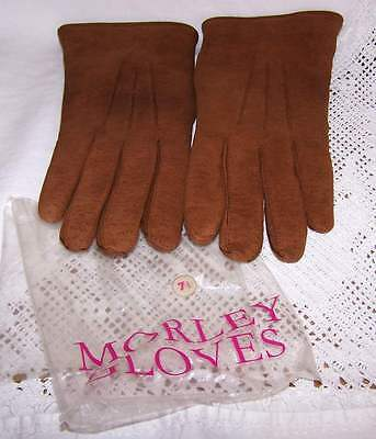 Vintage Morley Tan Soft suede/leather Gloves Fleecey Lined Size 7.5