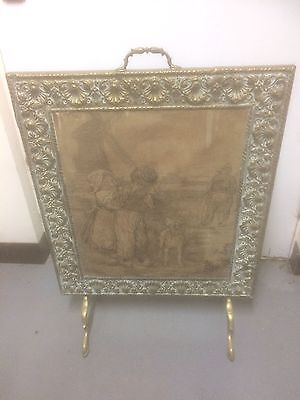 Old antique Victorian brass and Dutch tapestry scene  fire screen stand