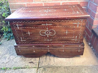 Antique Wooden Inlaid Mother Of Pearl Blanket Box Chest Trunk Coffee Table