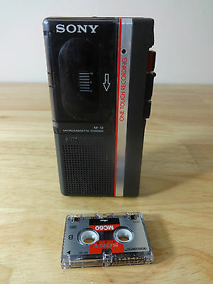 Sony M 12 personal microcassette recorder Vintage one touch 2 speed recorder