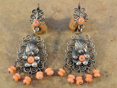 Mexican Mexico Sterling Silver Filigree Angel Skin Coral Frida Earrings