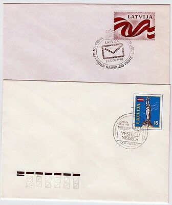 Latvia: 2 Early Stationaries ,printed-On Stamps, Special Postmarks 1990-1991