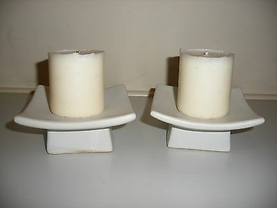 """Candle Plates In Pottery 4.25"""" Square On Square Plinth 2.5"""" Square"""
