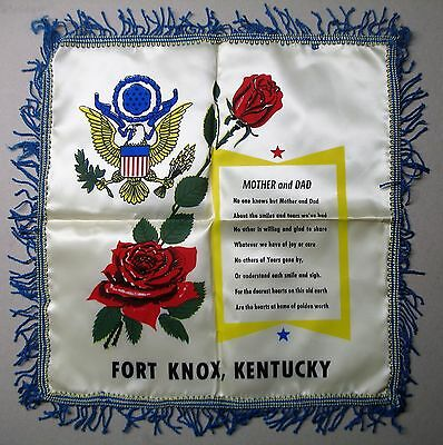 Vintage Fort Knox Souvenir Pillow Cover Mother & Dad Kentucky