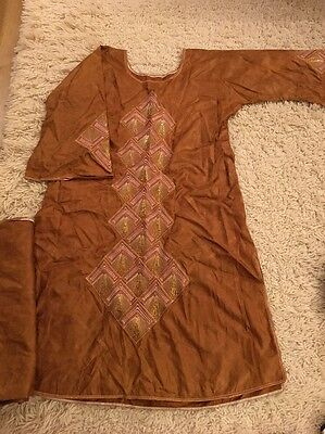 Orange Asian / Pakistani Tunic Embroidered With Large Shawl Size L
