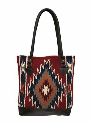 Ladies Tote Purse Handwoven Artisan Wool Bag Genuine Leather Bottom Southwest O