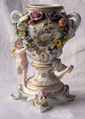 Early C19Th Meissen Hand Painted Vase With Applied Flowers, Cherubs And Pictures