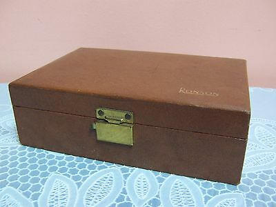 RONSON 300 CFL SHAVER BOX LEATHERETTE with BRASS HINGES & LATCH CIRCA 1960s