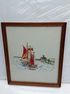 Stunning  Hand Made Embroidered Framed Picture - Oriental Sea Boat Junk Scene