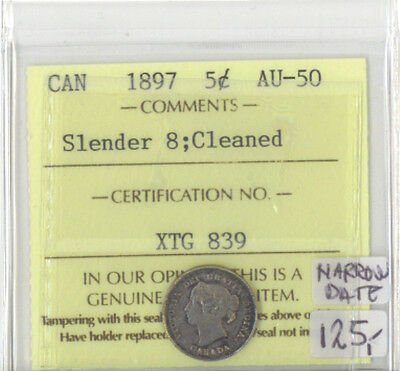 Canada 1897 Five Cents ICCS Certified AU-50 XTG 839
