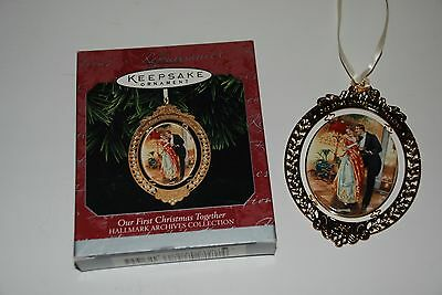 1998 Hallmark Ornament Our FIRST Christmas Together Ceramic & Brass