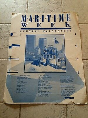 1988 Maritime Week Central Waterfront Seattle Poster 22X28 May 19Th to 26TH