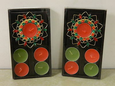 2 Christmas Tealight Candle Holder Sets Red & Green Rhinestone Designs Brand New