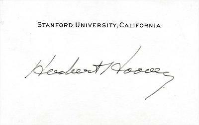 President Herbert Hoover- Signed Stanford University Card