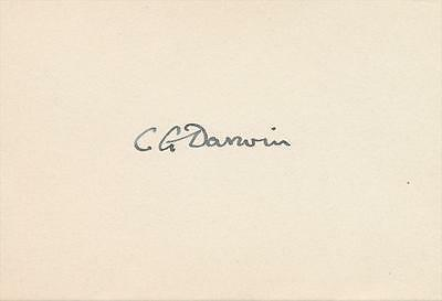 English Physicist Sir Charles G. Darwin- 1930's Signed Index Card