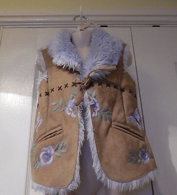 Monsoon Embroidered Faux Fur Lined Gilet/bodywarmer Age4-6 Years