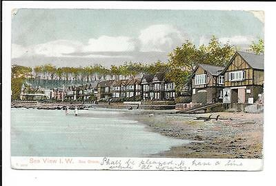 Old postcard, Isle of Wight: 'Sea View'.  Peacock p/card. Posted 1904.