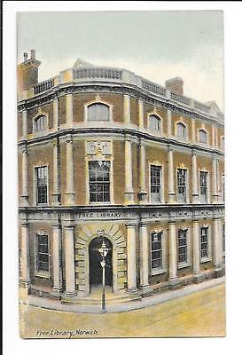 Old postcard, Norfolk: 'The Library, Norwich'. Unmailed.