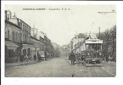 Old postcard, France: 'Bourg-la-Reine - Grand Rue'. Unmailed. Old tram.