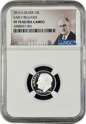 2016 S Silver Roosevelt Dime Early Releases NGC PF70 U.C. (Portrait Label)