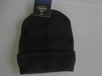 "NEW Boy Youth ""One Size"" Knit Beanie Hat Skull Cap Black Fleece Lined NWT"