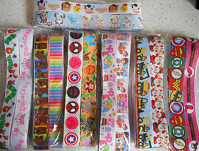 OVER 10 METRES  Grosgrain Ribbon Offcuts 20 pieces - 50cm Mixed Prints card clip