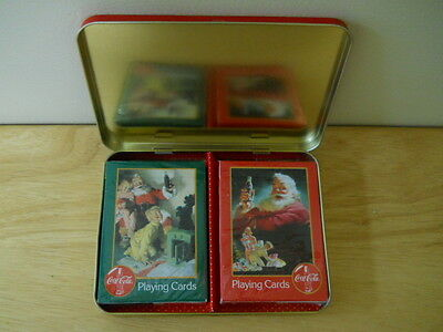 1996 Christmas Coca Cola Playing Cards in Tin Box Sealed Decks