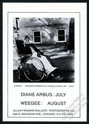 1978 Diane Arbus masked woman in wheelchair photo Chicago gallery print ad