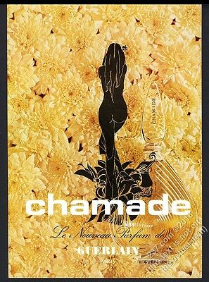 1971 Guerlain Chamade perfume bottle and flowers photo vintage print ad