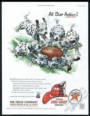 1952 Dalmatian puppy dogs and football color art Texaco vintage print ad NM