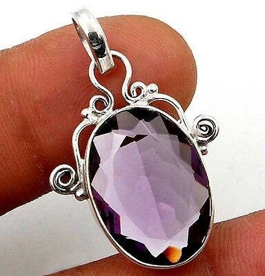 10CT Amethyst 925 Solid Genuine Sterling Silver Pendant 1 1/4'' Long