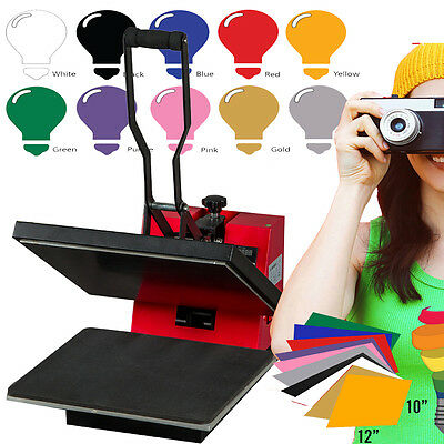 "Digital Heat Press Machine 15"" x 15"" + 10 Sheets Heat Transfer Vinyl Sublimation"