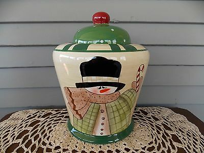 Ceramic Snowman Christmas Cookie Jar by Crazy Mountain
