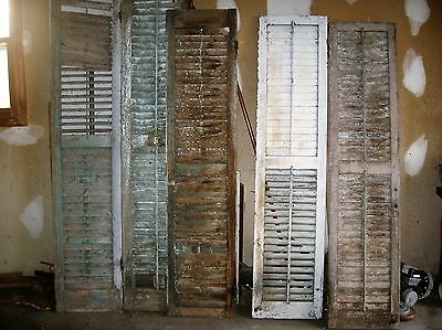 "Lot Of 8 Antique Wooden Louvred Shutters 72"" & 80"" Hardware"