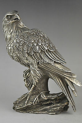 China Collection Decorate Old Tibet Silver Handwork Eagle Buddha Box Statue