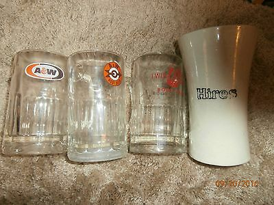 4 Vintage Rootbeer Mugs 2 Different Aw Mugs, 1 Twin Kiss And A Ceramic Hires