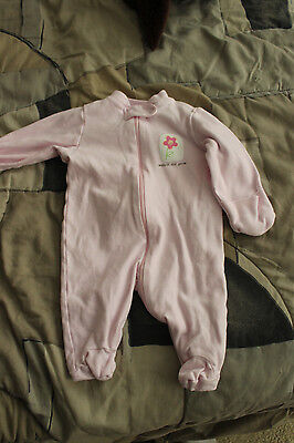 "Infant Girls ""Baby Beginnings"" Pink Flower One Piece Pajamas Size 0-3 Months GUC"