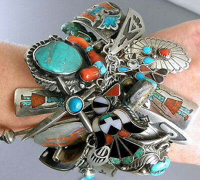 226g SIGNED 48 Charms Navajo Hopi  Charm Turquoise & Coral Bracelet