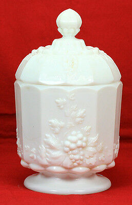 Vintage Westmoreland Glass Milk Glass Paneled Grape Pattern Candy Dish With Lid