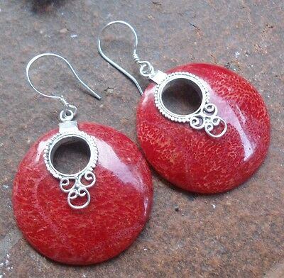 925 Sterling SilverLH22-Balinese Hand Made Earring Red Coral