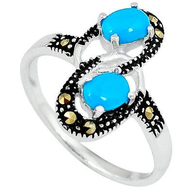 Fine Marcasite Blue Turquoise 925 Sterling Silver Ring Jewelry Size 7.5 A12330