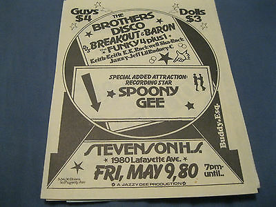 Rare Flyer.brothers Disco D.j.breakout-D.j.baron/funky 4 Plus 1 - Spoony Gee