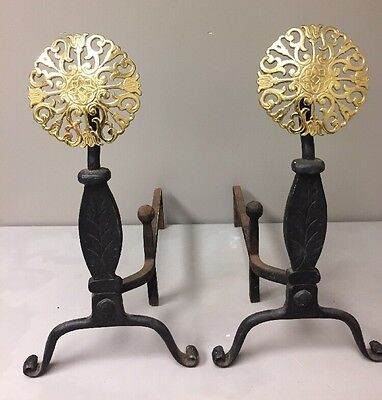 Virginia Metalcrafters Williamsburg Style Old English Medallion Andirons