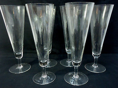 Set of 6 Crystal Tall Footed Glasses Pilsner Champagne Delicate Thin Optic Swirl