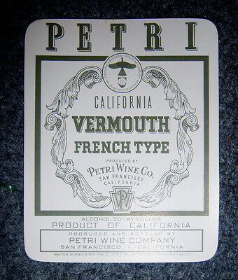 Vintage Unused Label for Vermouth California PETRI Wine Co